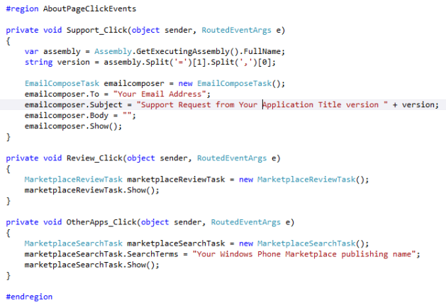 Windows Phone 7 About Page Code Behind