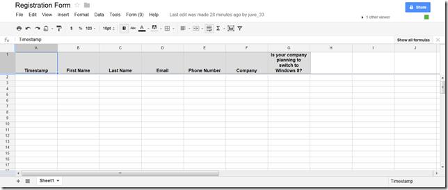 Form Spreadsheet
