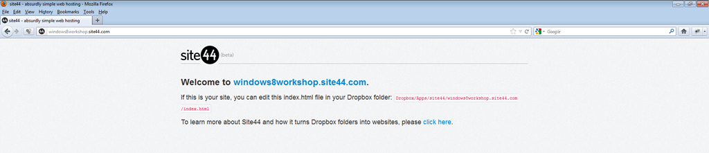 Using Dropbox, Site44 and Google Drive to create a quick