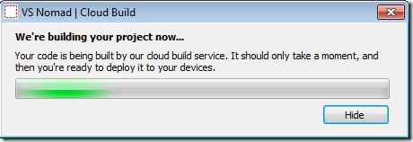 Nomad Cloud Build Dialog Start