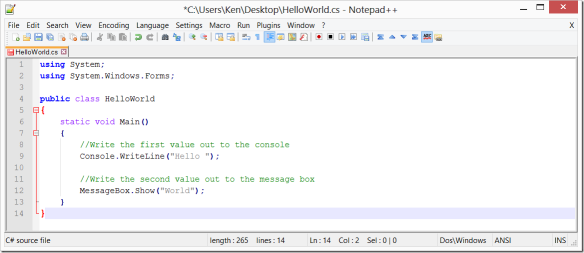 Using Notepad++ to write C# code | Ken Cenerelli