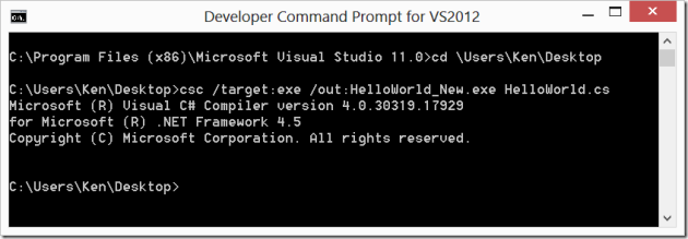 Visual Studio Developer Command Prompt CSC Command With Outputs