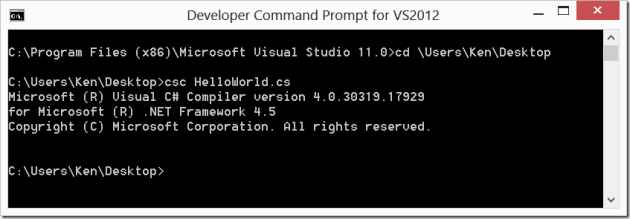 Visual Studio Developer Command Prompt CSC Command