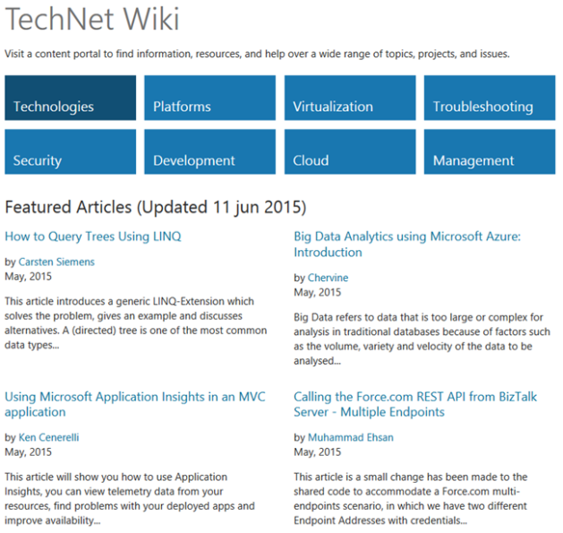TechNet Wiki Featured Articles May 2015