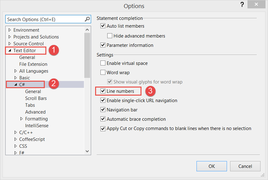 How to enable line numbers for C# in Visual Studio 2013