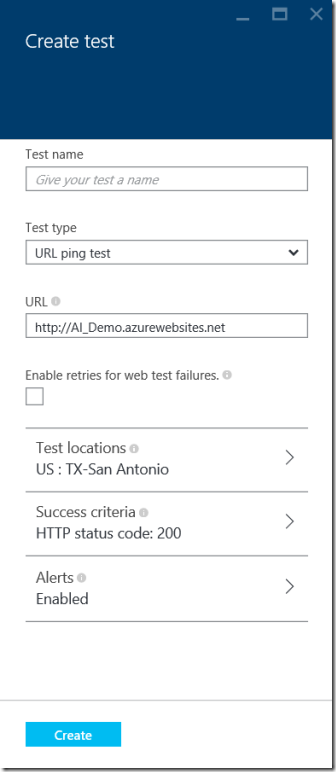 Configure Availability Testing With Microsoft Application