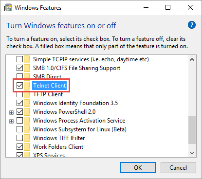 Enabling Telnet Client in Windows 10 | Ken Cenerelli