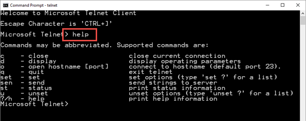 enable telnet mode