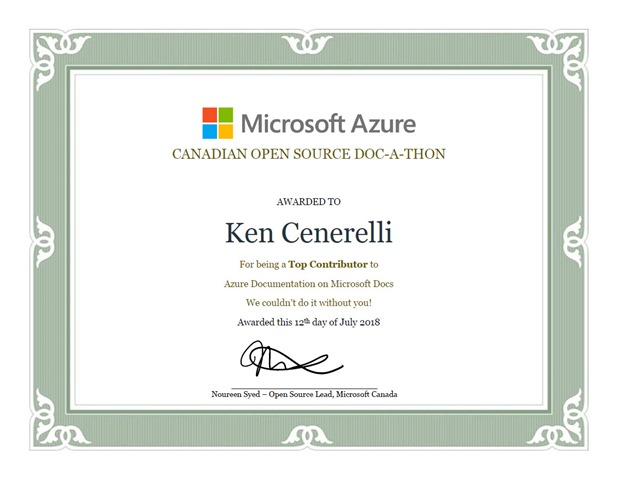 Canadian Open Source Doc-a-thon Top Contributor to Azure